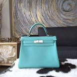 High Quality Replica Hermes Kelly 28cm Togo Calfskin Leather Bag Handstitched, Blue Atoll 3P