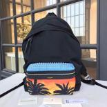 High Quality Replica YSL Saint Laurent Leather-Trimmed Palm Tree-Print Canvas Backpack Fall/Winter 2016 Collection, Black