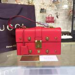 Imitation Gucci Cat Lock Top Handle Bag Calfskin Leather Fall/Winter 2016 Collection, Hibiscus Red