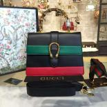 Imitation Gucci Dionysus Leather Bamboo Medium Top Handle Bag Fall/Winter 2016 Collection, Hibiscus Red/Green/Black