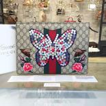 Imitation Gucci Embroidered Butterfly Print Clutch Bag Fall/Winter 2016 Runway Mens Collection, Beige