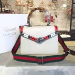 Imitation Gucci Lilith Bamboo Top Handle Bag With Printed Snakeskin Detail Medium Shoulder Bag Fall/Winter 2016 Collection, White