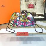Imitation Hermes Silk Fourbi Carre En Cravates GM Bag Insert With Etoupe Leather Fall/Winter 2016 Collection, Green/Yellow Multicolor