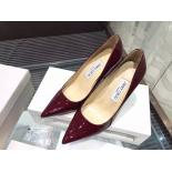 Jimmy Choo Abel Point-Toe Patent Leather Pumps, Burgundy
