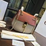 Knockoff Chloe Drew Bi-Color Suede Small Bag With Smooth Calfskin Fall/Winter 2016 Runway Bag Collection, Tan/Sand
