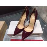 Knockoff Christian Louboutin Iriza Half D'Orsay Patent Leather Pumps 100mm, Burgundy