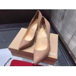 Knockoff Christian Louboutin Plato Pigalle Patent Leather Pumps 120mm, Nude