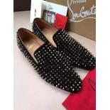 Knockoff Christian Louboutin Velour Dandelion Spikes Flat Calf Lux/Gg Calf Men's Flat Loafers With Red Bottom, Black With Silver Spikes