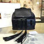 Knockoff Gucci Bamboo Tassel Leather Backpack Fall/Winter 2016 Collection, Black