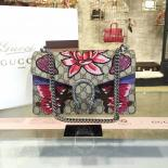 Knockoff Gucci Dionysus GG Supreme Lilies And Heart Embroidery Canvas Shoulder Medium Bag Sequin Appliqué Fall/Winter 2016 Collection, Beige/Purple Python