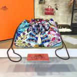 Knockoff Hermes Silk Fourbi Carre En Cravates GM Bag Insert With Rose Tyrien Leather Fall/Winter 2016 Collection, Pink/Blue Multicolor