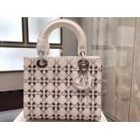 Knockoff Lady Dior Embroidery Medium Bag Lambskin Original Leather Spring Summer 2015 Collection, White