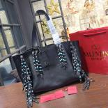 Knockoff Valentino Garavani Double Tote Bag With Tassel Fall/Winter 2016 Rolling Collection, Black