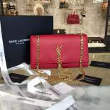 Knockoff YSL Saint Laurent Kate Medium Monogramme Tassel Chain Satchel 24cm Bag Calfskin Fall/Winter 2016 Collection, Red With Gold Hardware
