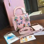Lady Dior Embroidery Flower/Butterfly Stitched Mini 17cm Bag Lambskin Leather Spring/Summer 2016 Collection, Pink