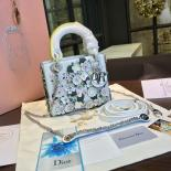 Lady Dior Floral Embellished Mini 17cm Bag Lambskin Leather Spring/Summer 2016 Collection, White Multicolor