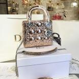 Lady Dior Mini 17cm Bag Ceramic-Effect Deerskin Leather Winter 2016 Collection, Gold With Silver Chain
