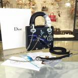Lady Dior Mini 17cm Bag Dragonfly Embroidered Effect Calfskin Leather Winter 2016 Collection, Black