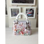 Lady Dior Satin Hand-Embroidered Micro 15cm Bag With Beaded Sequins, White