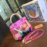 Limited Edition Hermes Mini Kelly Doll Bag 20cm Swift Leather With Croc Gold Hardware Singapore 50th Anniversary, Pink/Light Pink