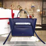 Luxury Celine Belt Top Handle Mini Bag Grained Calfskin Leather Pre-Fall Winter 2016 Collection, Navy Blue