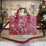 Luxury Gucci Arabesque Canvas Top Handle Bag Fall/Winter 2016 Collection, Red/Beige