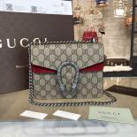 Luxury Gucci Dionysus GG Supreme Shoulder Small Bag Fall/Winter 2016 Collection, Burgundy/Beige