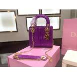 Luxury Lady Dior Mini Bag With Chain Python Skin Leather Fall/Winter 2015 Collection, Purple