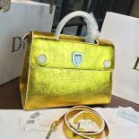 Luxury Replica Dior Crinkled Metallic Diorever Large Calfskin Leather Bag Fall/Winter 2016 Collection, Gold