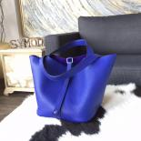 Luxury Replica Hermes Picotin Lock Bag 18cm/22cm Taurillon Clemence Palladium Hardware Hand Stitched, Blue Electric 7T
