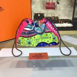 Luxury Replica Hermes Silk Fourbi Carre En Cravates GM Bag Insert With Rose Tyrien Leather Fall/Winter 2016 Collection, Green/Purple Multicolor