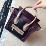 Luxury Replica On SALE! Celine Nano Luggage Bag Smooth Calfskin Leather Cruise 2015 Collection, Black/Light Brown/Burgundy