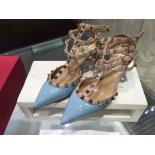 Luxury Replica Valentino Rockstud Leather Mid-Heel Slingback Patent Leather 2015 Collection, Light Blue