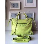 Perfect Balenciaga Velo 12 Bag Original Vintage Lambskin Leather Spring/Summer 2014 Collection, Poussin/Chartreuse
