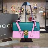 Perfect Gucci Dionysus GG Supreme Embroidered Small Medallion Bag Fall/Winter 2015 Collection, Turquoise/Pink
