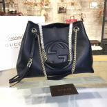 Perfect Gucci Soho Double Handle Satchel Chain Bag Original Leather Fall/Winter 2016 Collection, Black
