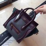 Perfect On SALE! Celine Nano Luggage Bag Drummed Calfskin Leather Cruise 2015 Collection, Olive Green/Burgundy/Black
