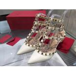 Perfect Valentino Rockstud Leather Mid-Heel Slingback Calfskin Leather 2015 Collection, Ivory