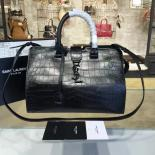 Perfect YSL Saint Laurent CHYC Croc Embossed Lambskin Leather Satchel Bag Fall/Winter 2016 Collection, Black