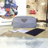 Prada Comestic Pouch Toiletry Bag Canvas With Calfskin Leather, Gray
