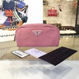 Prada Comestic Pouch Toiletry Bag Canvas With Calfskin Leather, Light Pink