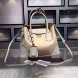 Prada Double Tote Medium Bag Original Leather Spring Summer 2015 Collection, White With Canvas