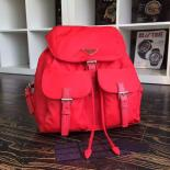 Prada Nylon Top Closure Womens Double Pocket Backpack Original Leather Spring/Summer 2015 Bag Collection, Red