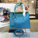 Prada Saffiano Double Handle Tote Bag 30cm Fall/Winter 2016 Bag Collection, Turquoise