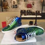 Replica 1:1 Christian Louboutin Louis Flat Men's Lace Up Studded Sneakers With Red Bottom, Green/Blue