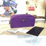 Replica AAA Prada Comestic Pouch Toiletry Bag Canvas With Calfskin Leather, Purple