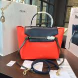 Replica Celine Belt Top Handle Mini Bag Grained Calfskin Leather Pre-Fall Winter 2016 Collection, Red/Navy Blue/Grey