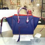 Replica Celine Phantom Tote Bag Calfskin Leather Fall/Winter 2016 Collection, Electric Blue With Red Suede