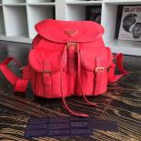 Replica Cheap Prada Nylon Top Closure Womens Backpack Original Leather Spring/Summer 2015 Bag Collection, Red