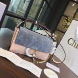 Replica Chloe Faye Bi-Color Suede Small Shoulder Bag With Smooth Calfskin Fall/Winter 2016 Runway Collection, Light Blue/Sand